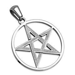 Edelstahl Anhänger Pentagramm Halskette Lederkette Kugelkette Damen Herren Autiga®