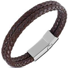 Edles Leder-Armband Herren Damen doppelt rund Rindsleder geflochten Autiga®