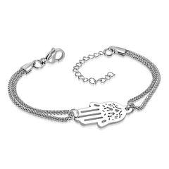 Damen Edelstahl Armband Armkette Hamsa Hand der Fatima Schlangenkette Autiga®