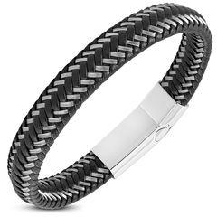 Lederarmband Herren Armband geflochtenes Rindsleder mit Edelstahl Autiga®