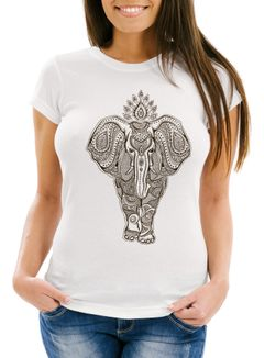 Damen T-Shirt Mandala Elefant Elephant Boho Ethno Slim Fit Neverless®