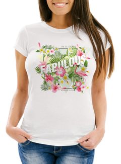 Damen T-Shirt Flamingo Fabulous Palmen Blumen Flower Tropical Neverless®