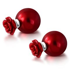 Doppel-Ohrstecker Damen Ohrringe Kunstperle Kugel Rose Rot Blume Autiga®
