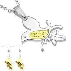 Damen Schmuck-Set Vogel Halskette mit Anhänger Bird Ohrhänger Ohrringe Ohrstecker Geschenk Autiga®