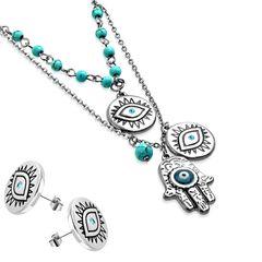 Damen Schmuck-Set Halskette mit Anhänger Hamsa Hand der Fatima Ohrringe Ohrstecker Zirkonia Kristall Geschenk Autiga®