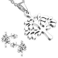 Damen Schmuck-Set Halskette mit Anhänger Lebensbaum Ohrringe Ohrstecker Zirkonia Kristall Geschenk Autiga®