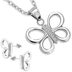 Damen Schmuck-Set Halskette mit Anhänger Schmetterling Butterfly Ohrringe Ohrstecker Zirkonia Kristall Geschenk Autiga®