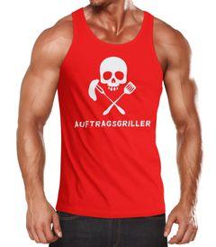 Herren Tanktop Auftragsgriller Funshirt Grill Shirt BBQ Skull Moonworks®