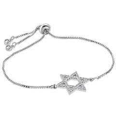 Damen Edelstahl Armband Armkette Davidstern Venezianerkette Zirkonia Kristalle Autiga®