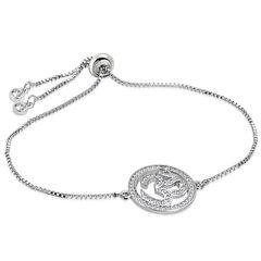 Damen Edelstahl Armband Armkette Om-Symbol Hinduismus Venezianerkette Zirkonia Kristalle Autiga®