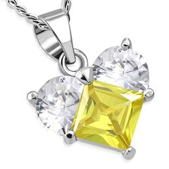 Damen Halskette Herz Heart Anhänger Edelstahl Zirkonia Kristall Autiga®