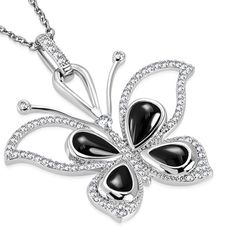 Damen Halskette Schmetterling Butterfly Anhänger Edelstahl Keramik Zirkonia Kristall Autiga®