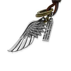 Herren Echtleder Halskette Flügel Engelsflügel Ring Biker Anhänger Autiga®