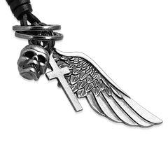 Herren Echtleder Halskette Flügel Engelsflügel Totenkopf Skull Kreuz Cross Ring Biker Anhänger Autiga®