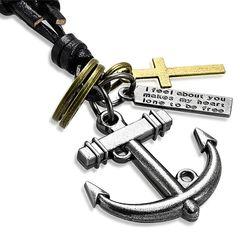 Herren Echtleder Halskette Anker Kreuz Cross Ring Biker Anhänger Autiga®