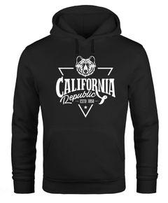 Hoodie Herren California Republic Grizzly Bär Kalifornien Kapuzen-Pullover Männer Neverless®