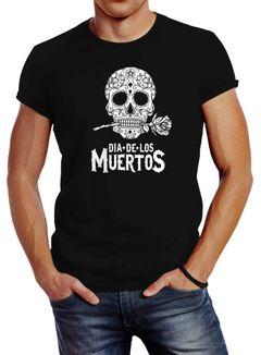 Herren T-Shirt Sugar Skull Dia De Los Muertos Totenkopf mit Blumen Slim Fit Neverless®