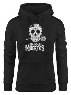 Hoodie Damen Sugar Skull Dia De Los Muertos Totenkopf mit Blumen Kapuzen-Pullover Frauen Neverless®