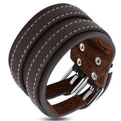 Echtleder-Armband Doppel-Gürtel Naht-Optik Rindsleder Edelstahl Biker Autiga®