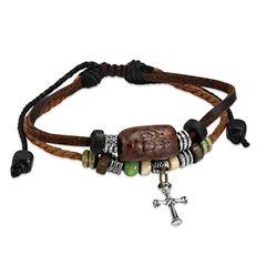 Echtleder-Armband Kreuz Cross Rindsleder Edelstahl Surfer Autiga®
