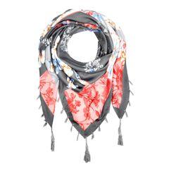 Damen Schal mit Fransen Blumen Blümchen Dreieckstuch Halstuch quadratisch Patchwork-Look Autiga®