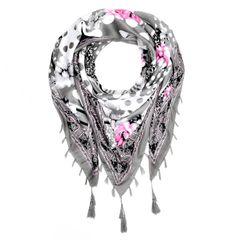 Damen Schal mit Fransen Blumen Punkte Dots Dreieckstuch Halstuch quadratisch Patchwork-Look Autiga®