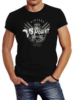 Herren T-Shirt V8 Power Motor Block Tuning Slim Fit Neverless®