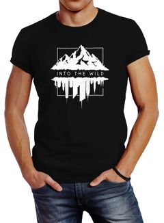 Herren T-Shirt Into The Wild Berge Skyline Slim Fit Neverless®
