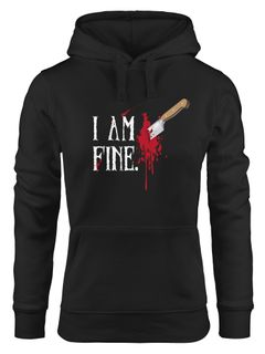Hoodie Damen Halloween Wunde Messer I Am Fine Horror Fun-Shirt Stichwunde Kapuzen-Pullover Moonworks®