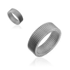 Herren Ring Edelstahl Herrenring Flexibel Mesh-Optik