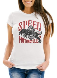 Damen T-Shirt Motorrad Biker Vintage Retro Slim Fit Neverless®