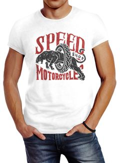 Herren T-Shirt Motorrad Biker Vintage Retro Slim Fit Neverless®