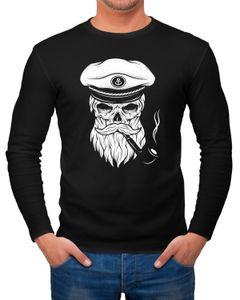 Herren Longsleeve Totenkopf Captain Skull Kapitän Anker Langarmshirt Neverless®