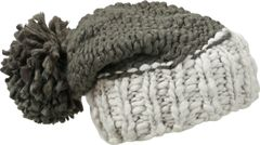 Strickmütze Damen Grobstrick zweifarbig Pudelmütze Bommelmütze Winter-Mütze Puschel Neverless®