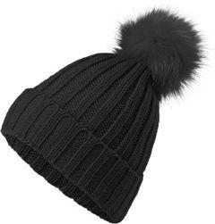 Damen Strickmütze Wintermütze Pudelmütze Fellbommel Ripp-StrickNeverless®