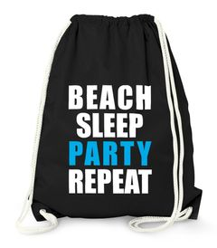 Turnbeutel Beach Sleep Party Repeat Party Beutel Tasche Moonworks®