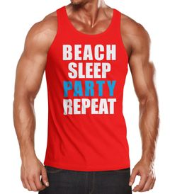 Herren Tanktop Beach Sleep Party Repeat Party  Moonworks®