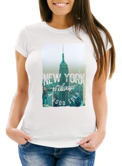 Damen T-Shirt New York Skyline Foto Print Slim Fit Neverless®