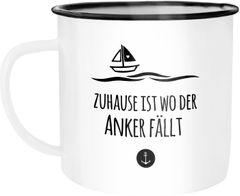 Emaille Tasse Becher Zuhause ist wo der Anker fällt Familie Heimat Liebe Kaffeetasse Moonworks®