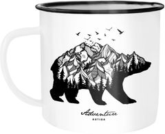 Emaille Tasse Becher Bär Berge Wald Abenteuer Bear Mountains Adventure Kaffeetasse Autiga®