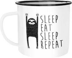 Emaille Tasse Becher Sleep eat Sleep Repeat Faultier Kaffeetasse Moonworks®