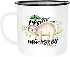 Emaille Tasse Becher Faultier Ich wurde positiv auf Müde getestet Sloth Kaffeetasse Moonworks®
