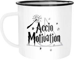 Emaille Tasse Becher Accio Motivation Zauberspruch Spruch Kaffeetasse Moonworks®