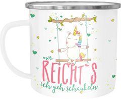Emaille Tasse Becher Einhorn Mir reichts ich geh schaukeln Spruch Einhorntasse Unicorn Kaffeetasse Moonworks®