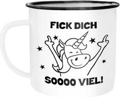 Emaille Tasse Becher Böses Einhorn Fick dich so viel Spruch Kaffeetasse Bürotasse Moonworks®