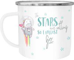Emaille Tasse Becher Einhorn Astronaut the stars are calling and i must go Spruch Einhorntasse Kaffeetasse Moonworks®