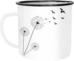 Emaille Tasse Becher Pusteblume Vögel Dandelion Birds Kaffeetasse Autiga®