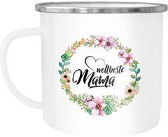 Emaille Tasse Becher Weltbeste Mama Geschenk Mutter Muttertag Tasse Blumen Geschenk Kaffeetasse Moonworks®