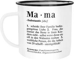 Emaille Tasse Becher Mama Definition Dictionary Wörterbuch Duden Geschenk für Mama Mutter Kaffeetasse Moonworks®