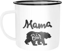 Emaille Tasse Becher Papa, Mama, Oma, Opa Bär Kaffeetasse Moonworks®